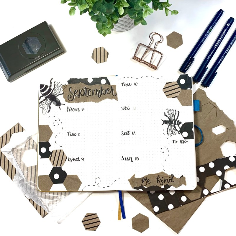 Creative bullet journal with paper bags