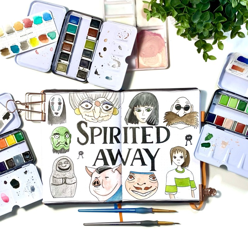 Spirited Away Watercolour Layout