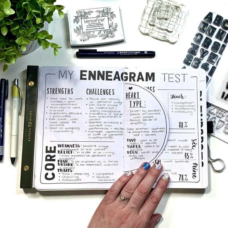Enneagram test in a bullet journal