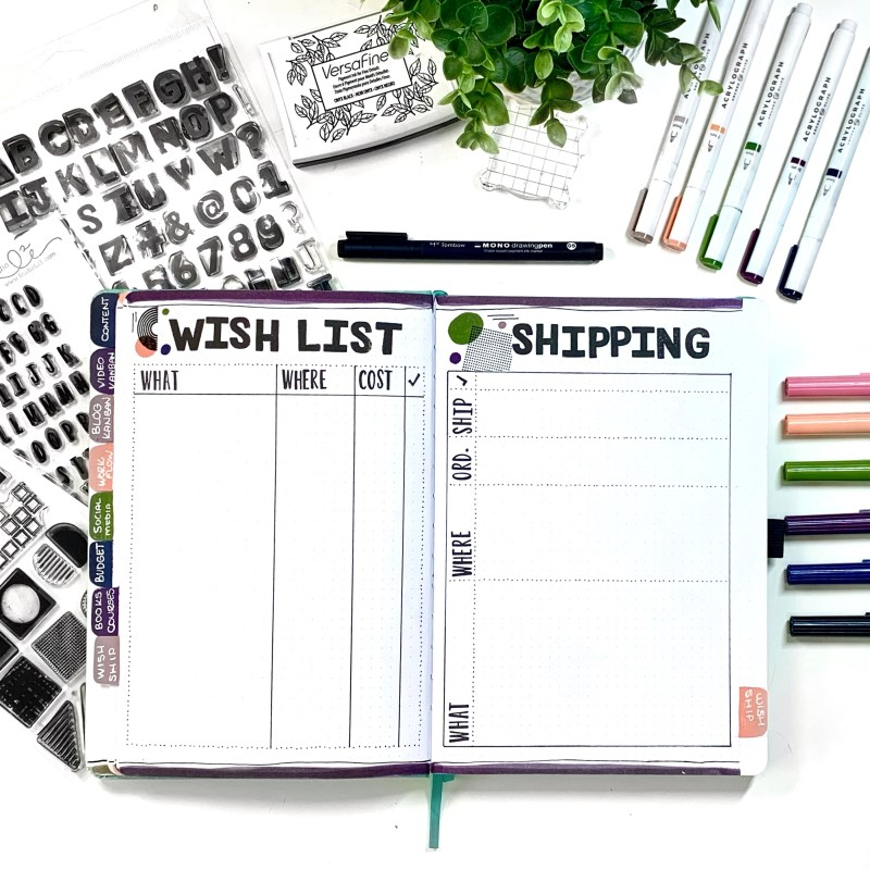 Wish List and Shipping Bullet Journal Layouts