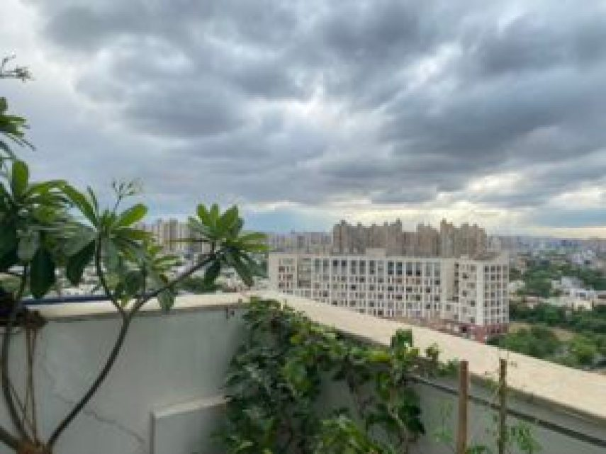 Cloudy sunset sky and terrace view