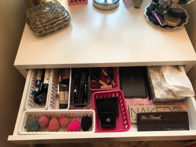Inside drawer of vanity