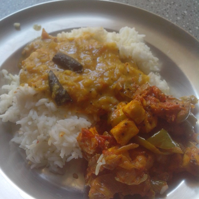 Rice, Dhal, Cottage cheese & Capsicum all cooked - A perfect vegan Indian lunch of the day