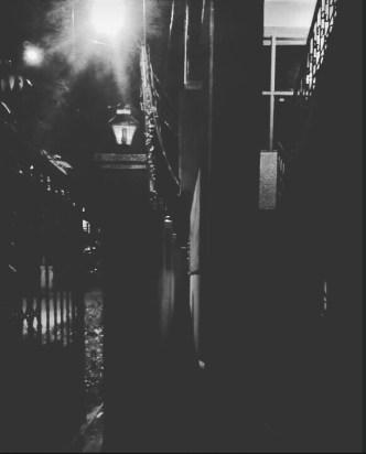 a narrow dark inside alley