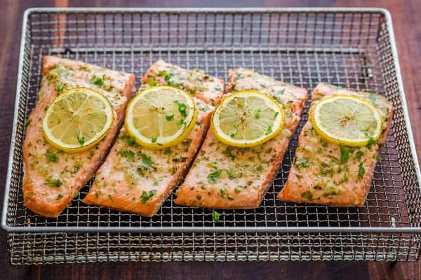 Air Fryer Salmon on wire rack