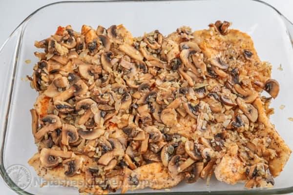 Cazuela de pollo y champiñones