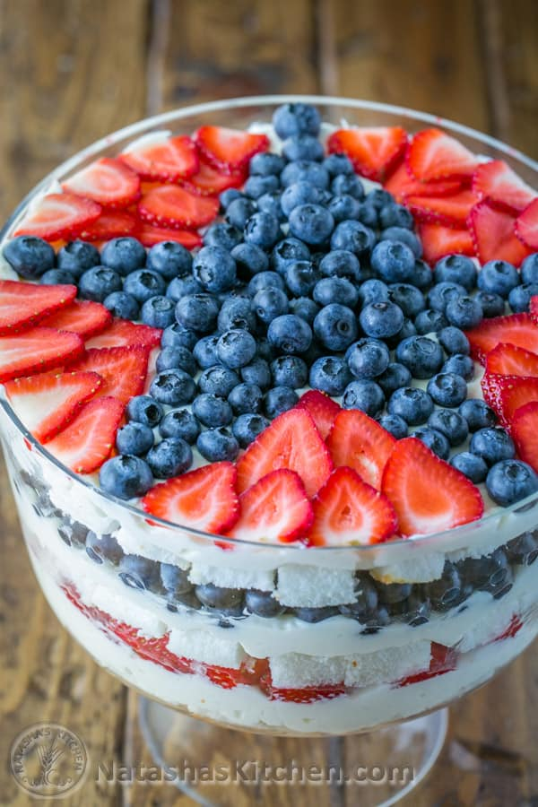 "No-Bake Strawberry Blueberry Trifle Dessert Recipe | Natasha's Kitchen ""This strawberry blueberry trifle recipe requires zero baking and it takes about 30 min to make! The sweet/tartness of the fruit, melt-in-your-mouth soft angel food cake and lightly sweetened cream come together so well."""