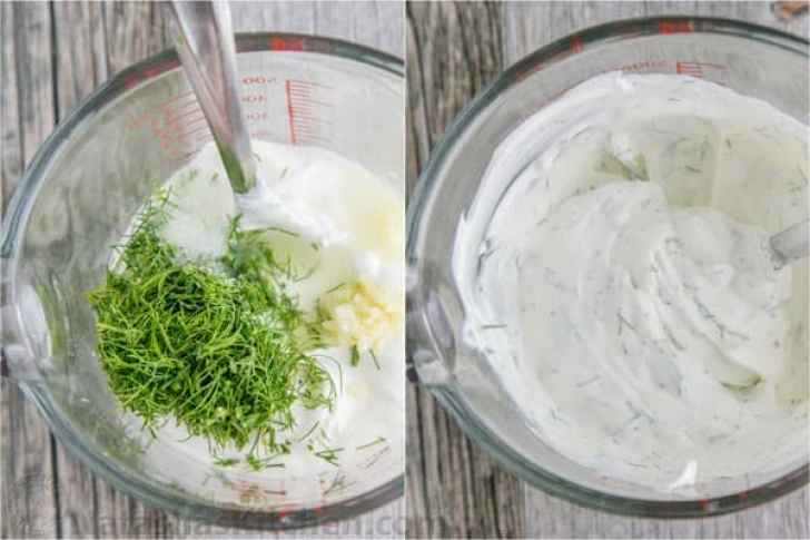 Mixing dill, sour cream, lemon juice, and garlic for this delicious Creamy Cucumber Salad recipe