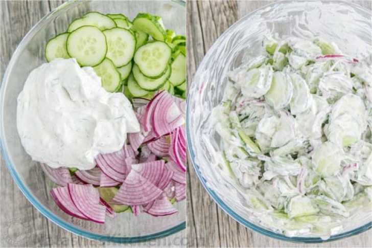 Sliced cucumbers and red onions ready for the delicious sour cream and dill sauce to complete this easy Creamy Cucumber Salad.