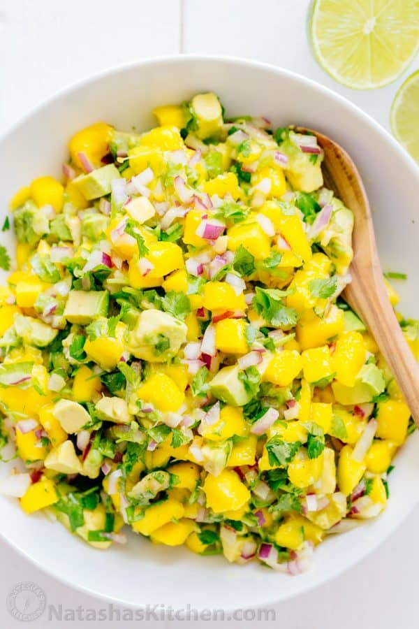 Mango Avocado Salsa Recipe via Natasha's Kitchen - This sweet, chunky fresh mango salsa with avocado is excellent with chips or over tacos, chicken or fish. A 5-minute, 5-ingredient easy mango salsa recipe.