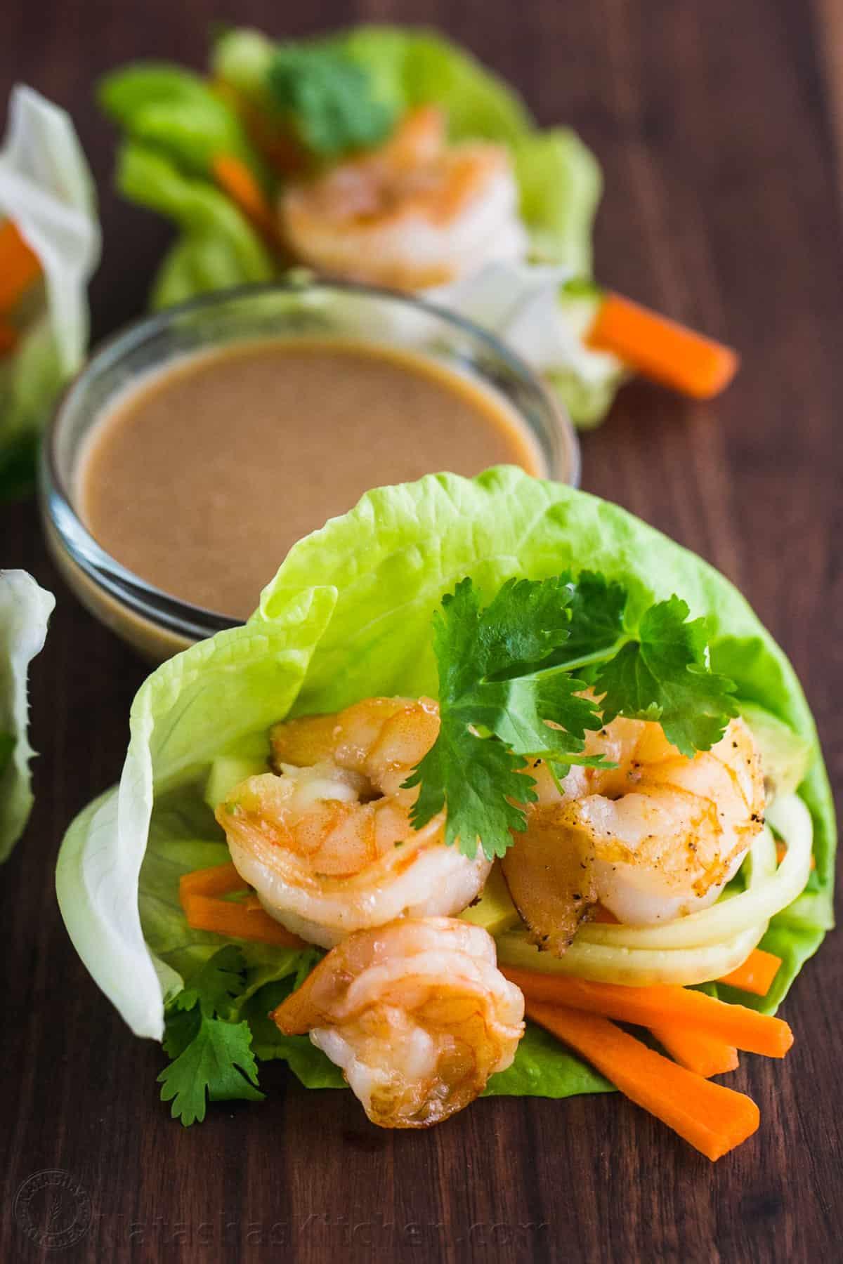 Shrimp Lettuce Wraps With Peanut Sauce Natashaskitchen Com