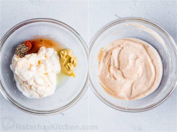 Collage of how to make creamy Dijon mayonnaise dressing