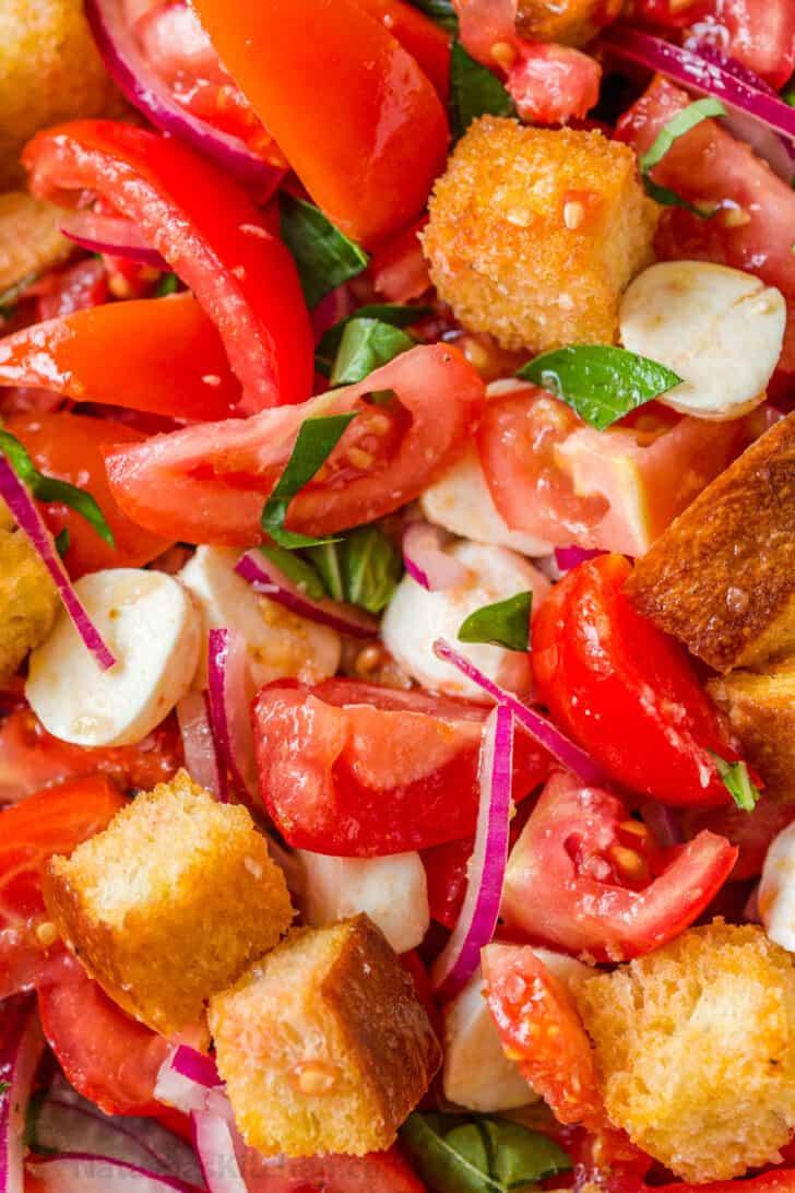 Mixed panzanella salad with tomatoes and bread