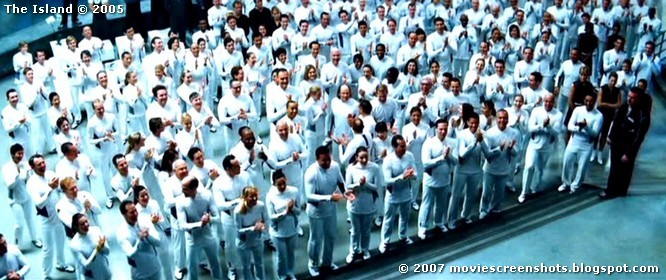 Clones! (but really a screenshot from barely tolerable sci-fi clone flick, The Island)