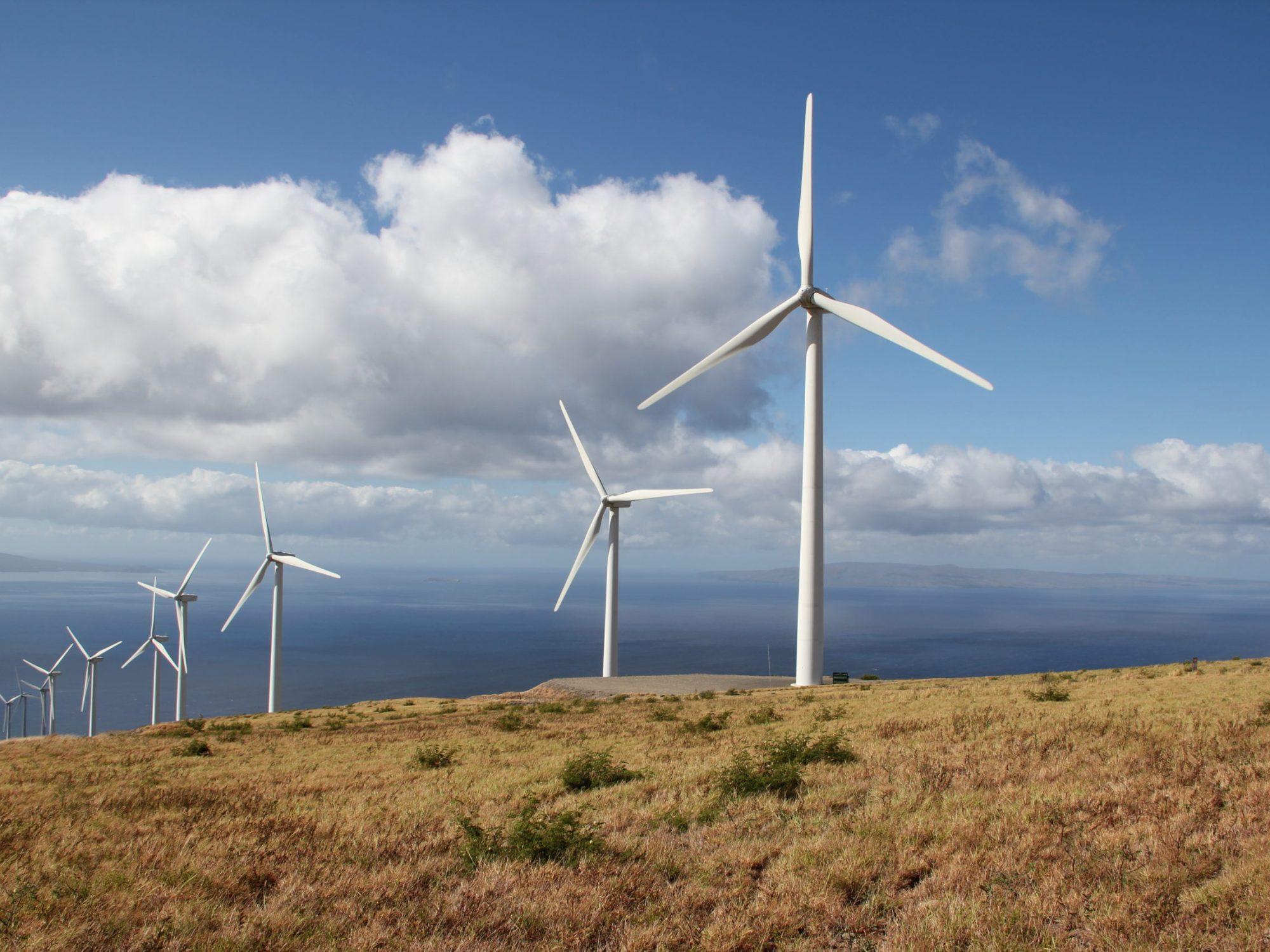 Wind turbines at La Haina, Hawaii