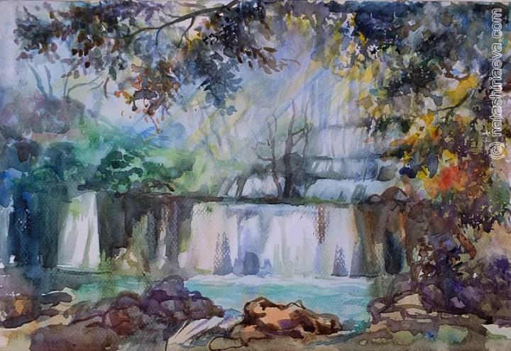 акварель водопад