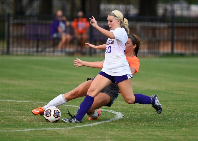 Freshman forward Kayleigh Phillips, shown here in Friday's match against LSU-A, scored the game-tying goal Tuesday against LSU in a 1-1 tie. PHOTO: Gary Hardamon/NSU Photographic Services
