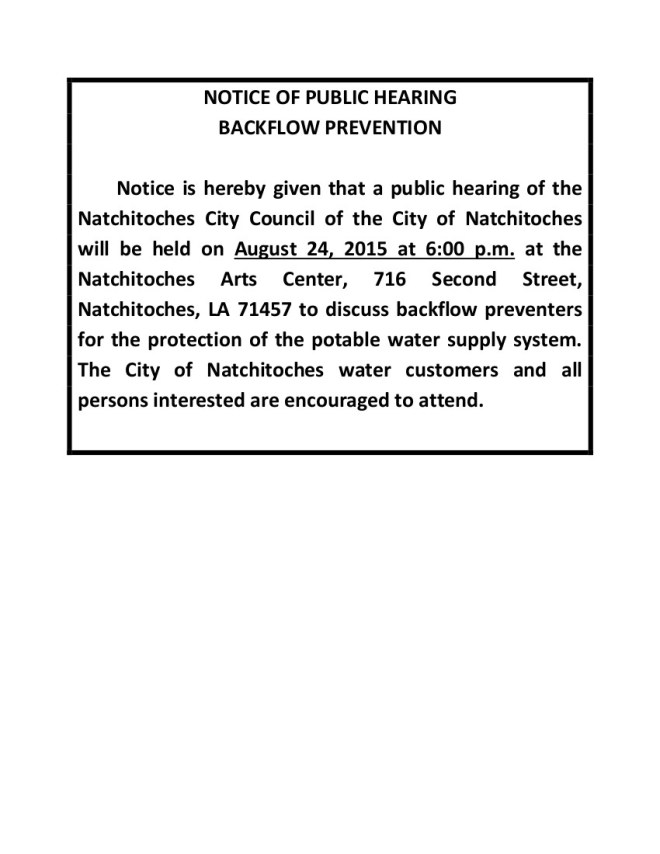 NOTICE OF PUBLIC HEARING BACKFLOW PREVENTION