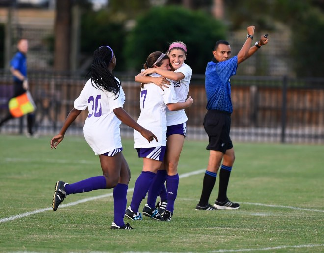 NSU true freshman Brittany Caserma hugs senior Cassandra Briscoe after Caserma scored the first goal of the season Friday against LSU-Alexandria in a 4-1 win.