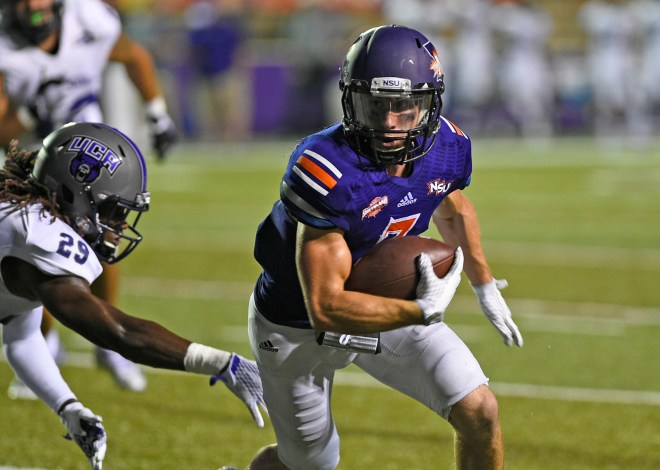 Ed Eagan broke the NSU career receptions mark Saturday, making 10 catches for 108 yards and two touchdowns in a 49-21 loss to Central Arkansas. PHOTO: Gary Hardamon/NSU Photolab
