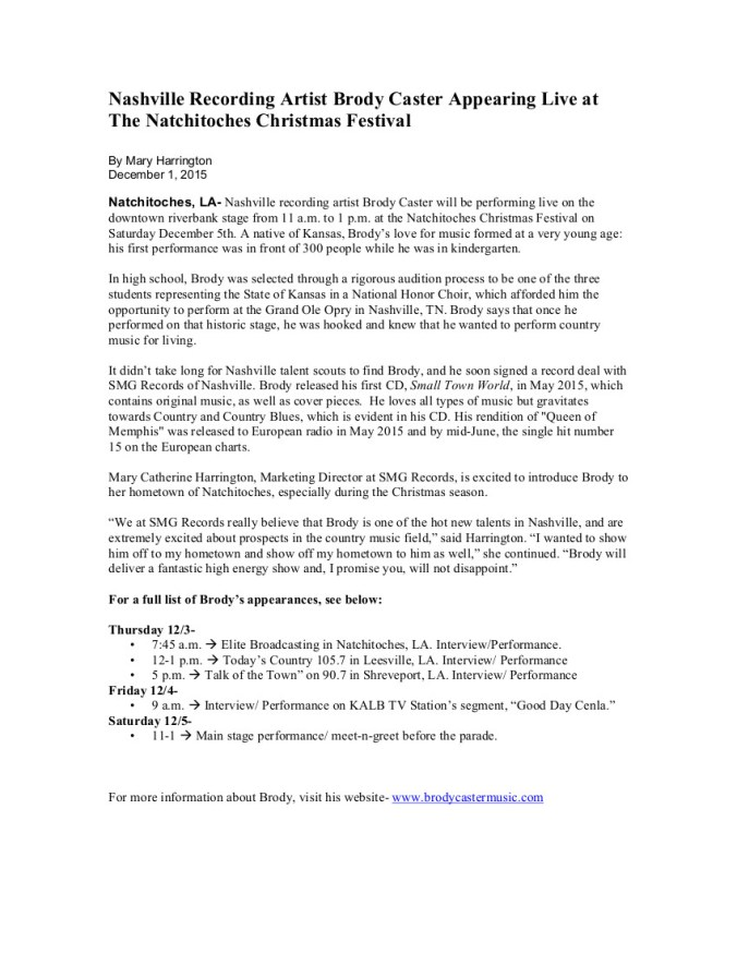 Brody Caster Christmas Fest Press Release
