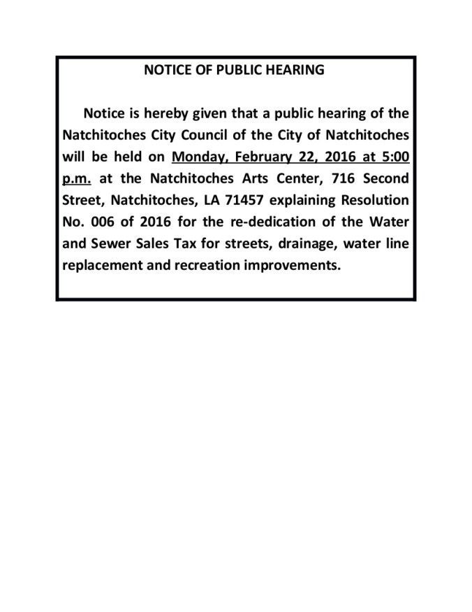 NOTICE OF PUBLIC HEARING SALES AND USE TAX