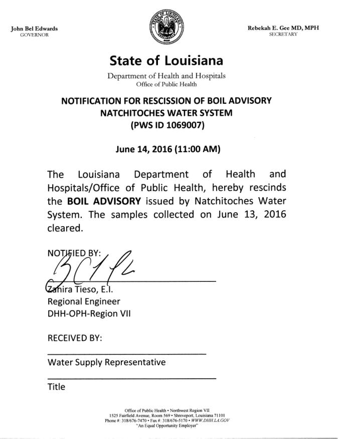 Boil Order Rescinded 6-14-16-A