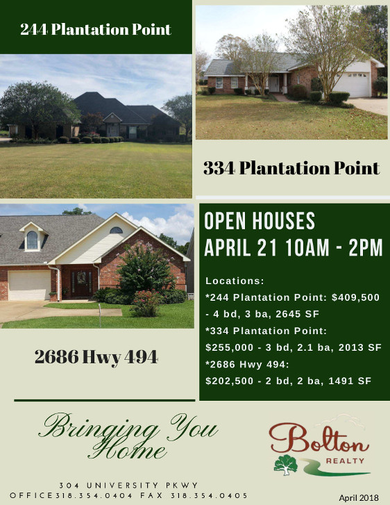 Bolton Realty Open Houses 4-21-18