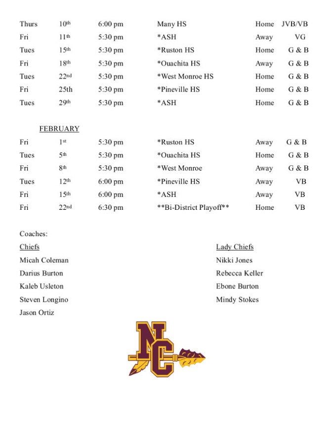 Chiefs & Lady Chiefs Combined Schedule 2018-2019
