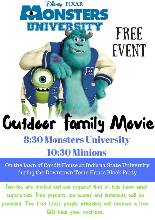 Outdoor Family Movie at ISU for the Downtown Terre Haute Block Party
