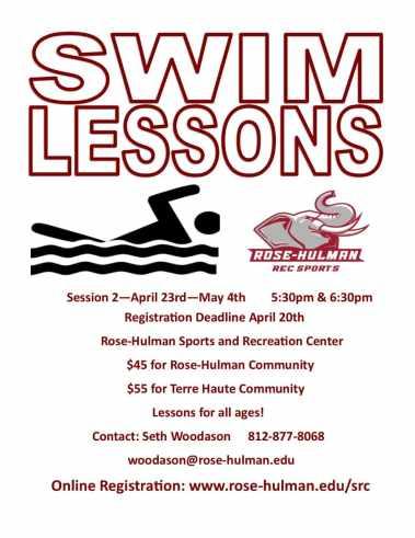Spring swim lessons at Rose-Hulman