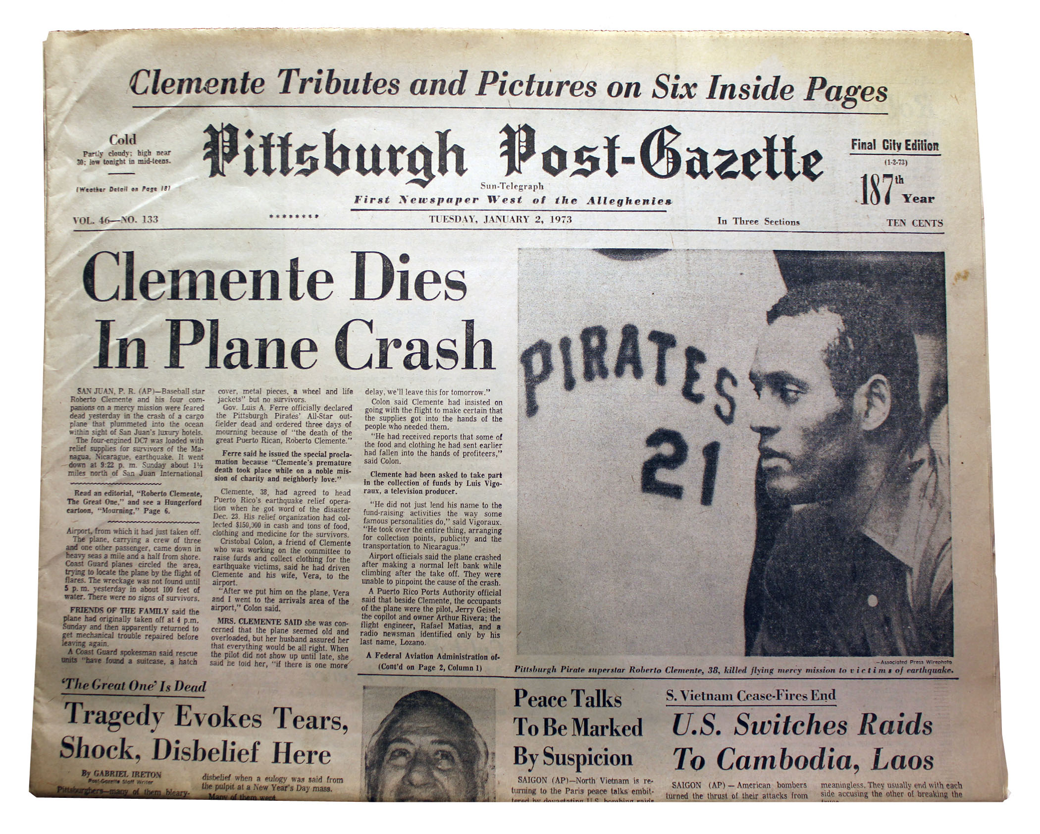 The Front Page Of The Pittsburgh Post Gazette From Jan