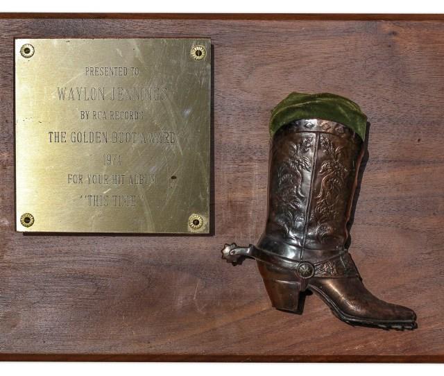 Waylon Jennings Golden Boot Award Given For Jennings 1974 Album This