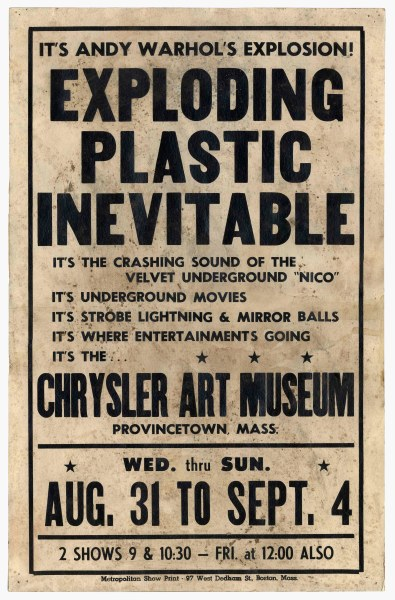 Lot Detail   Andy Warhol Poster for His   Exploding Plastic     Andy Warhol Poster for His   Exploding Plastic Inevitable   Show in 1966 in