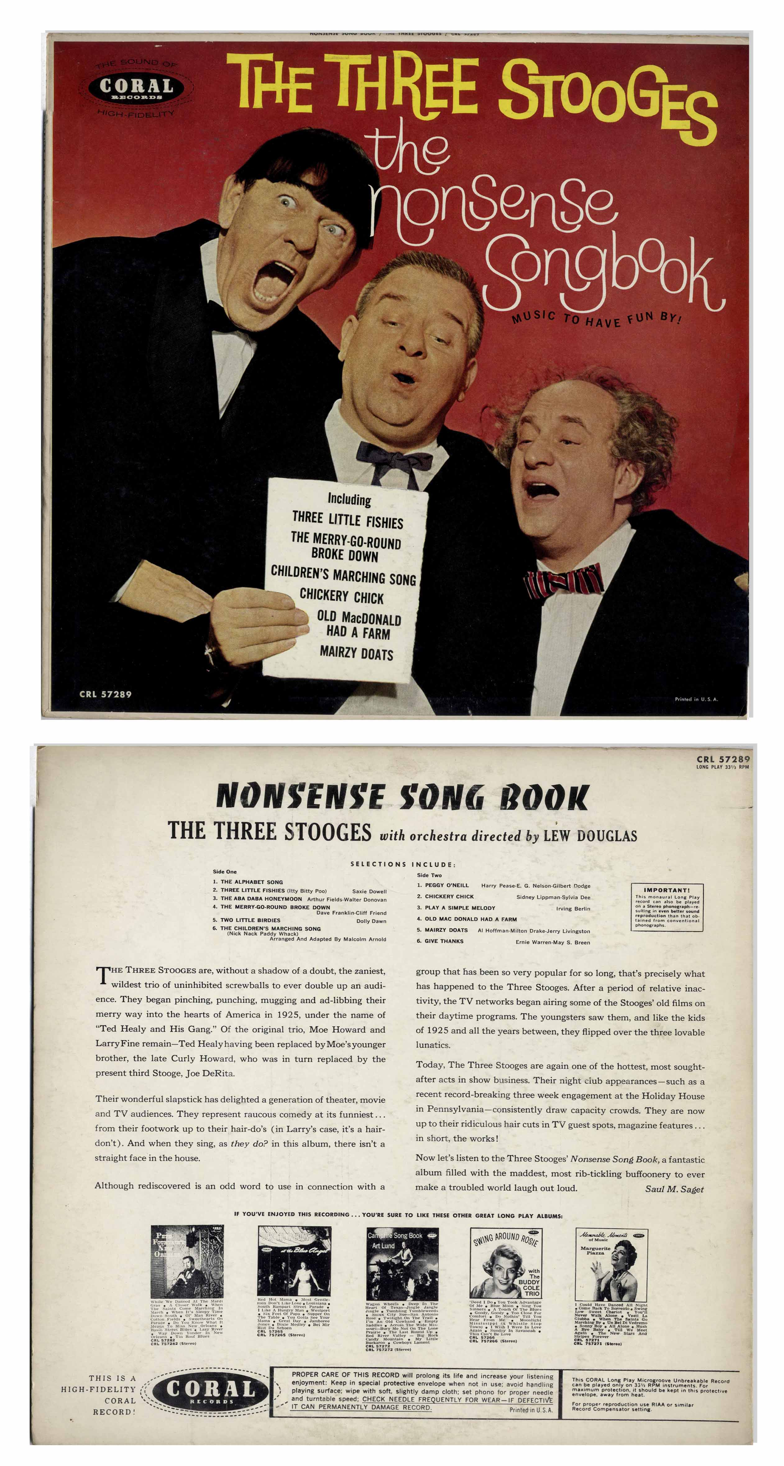 Lot Detail Lot Of 11 Vinyl Records With Three Stooges Recordings For Children Circa 1960s With Curly Joe Plus Flyer Promoting Their Albums Not Played But Albums Appear