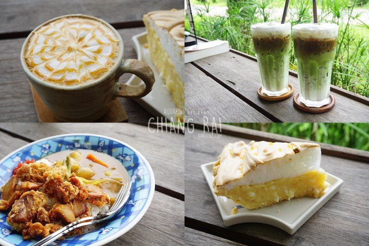 Coffee, Iced Green Tea, Cake and Food at Ryokan Cafe | Chiang Rai
