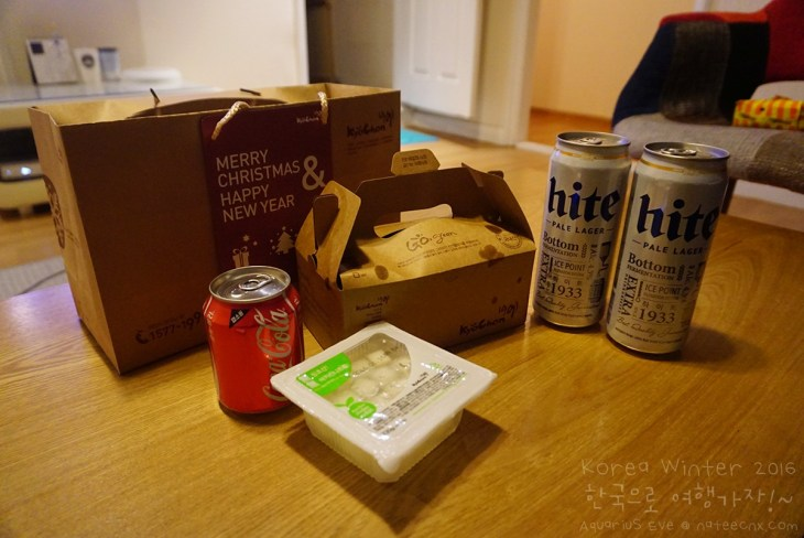 Kyochon with Hite at Hello Stranger Guesthouse