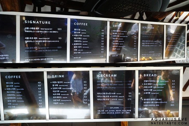 Seoul Coffee Ikseondong Menu