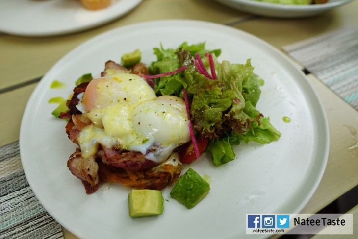 Egg Benedict Bacon: Crispy Sloane's smoked bacon, Poached egg, Olive oil hollandaise, Crispy potato galette