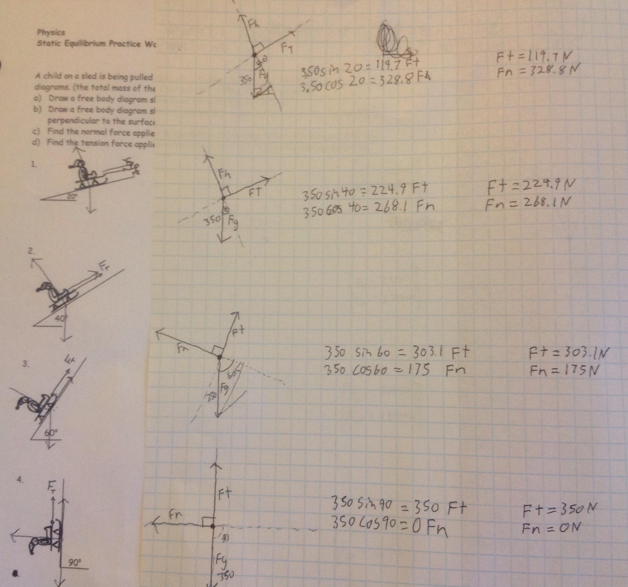 Static Equilibrium Worksheet