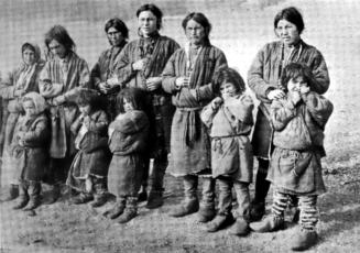 The Kets are an indigenous group who live in the Russian taiga around the Yenisei River in Siberia. Linguists have studied the Ket language, and compared it to elements of the Na-Dene language group spoken by Native American communities in North America. Photograph by Fridtjof Nansen, courtesy Wikimedia. Public domain.