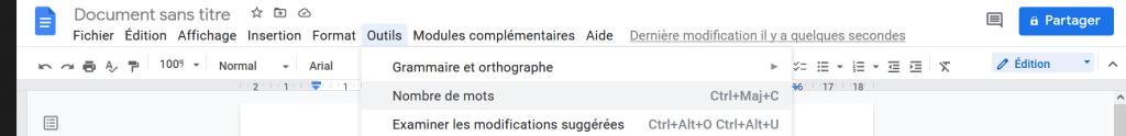 Cliquer sur Outils puis Nombre de mots dans le menu déroulant de Google Docs.