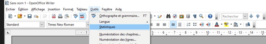 """Sur OpenOffice, cliquer sur l'onglet """"Outils"""", puis """"Statistiques"""" dans le menu déroulant."""