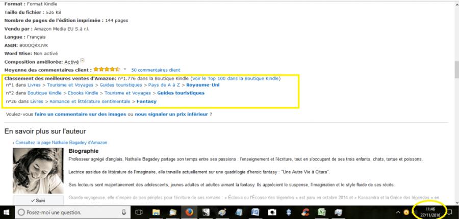 Publicités Facebook 6 - suivi - rang Amazon au 27-11-16