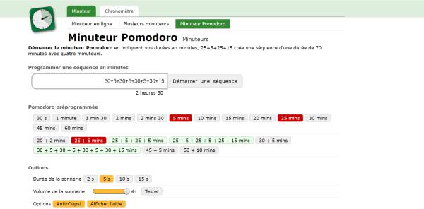 fenêtre paramètres Pomodoro