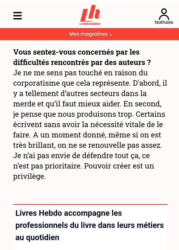 Extrait de l'article paru dans Livre Hebdo d'Alain Damasio