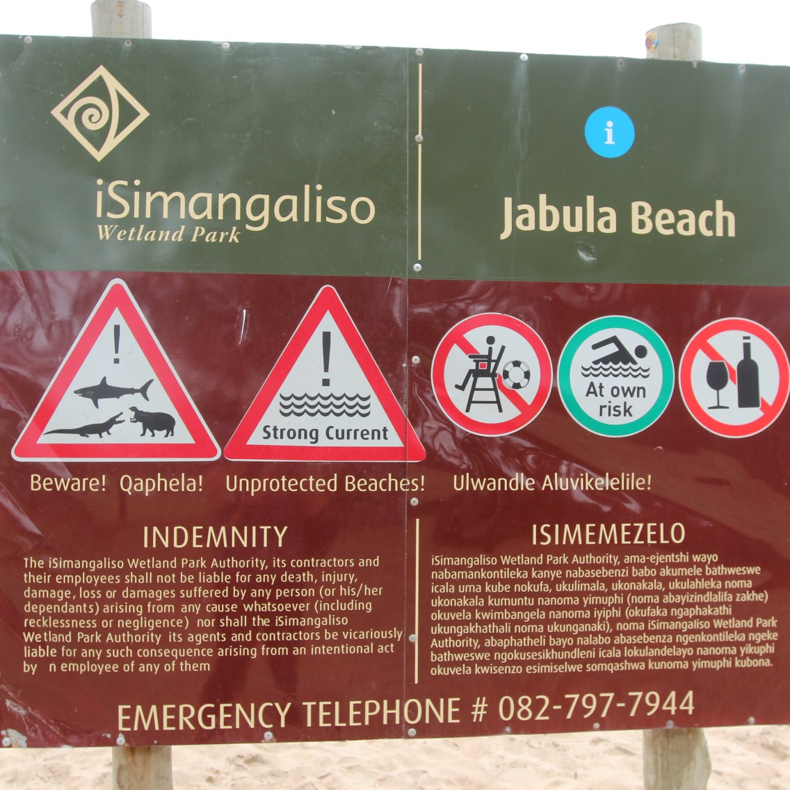 Attention aux requins, hippos et crocodiles…rassurant!!!