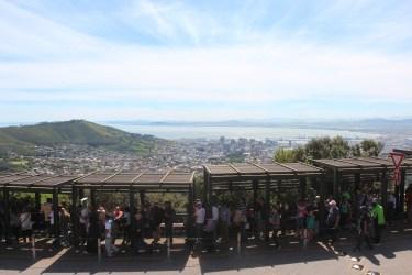 La file d'attente à la Table Mountain