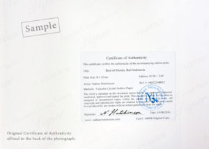 Certificate of Authenticity for photograph print