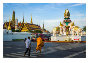Elephants Monument and Wat Phra Kaew Bangkok Fine Art Print